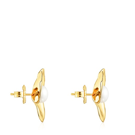 Silver Vermeil Fragile Nature petals Earrings with Pearl