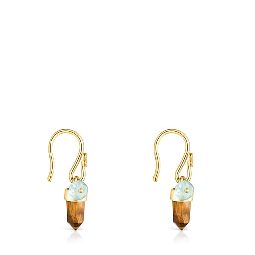 Silver Vermeil TOUS Good Vibes Earrings with Tiger's eye and Apatite