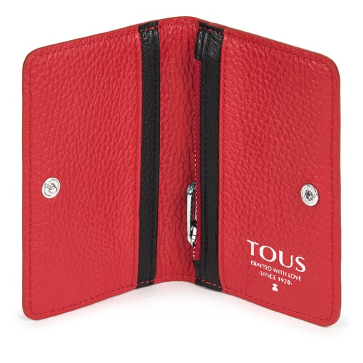 Small red Leather T Script Wallet