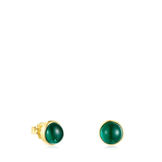 Silver Vermeil Cocktail Earrings with green Glass
