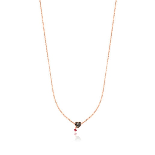 Rose Vermeil Silver TOUS Motif Necklace with Spinels and Ruby heart motif