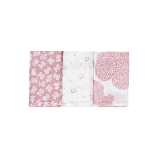 Set of 3 MMuse mini muslin blankets in Pink