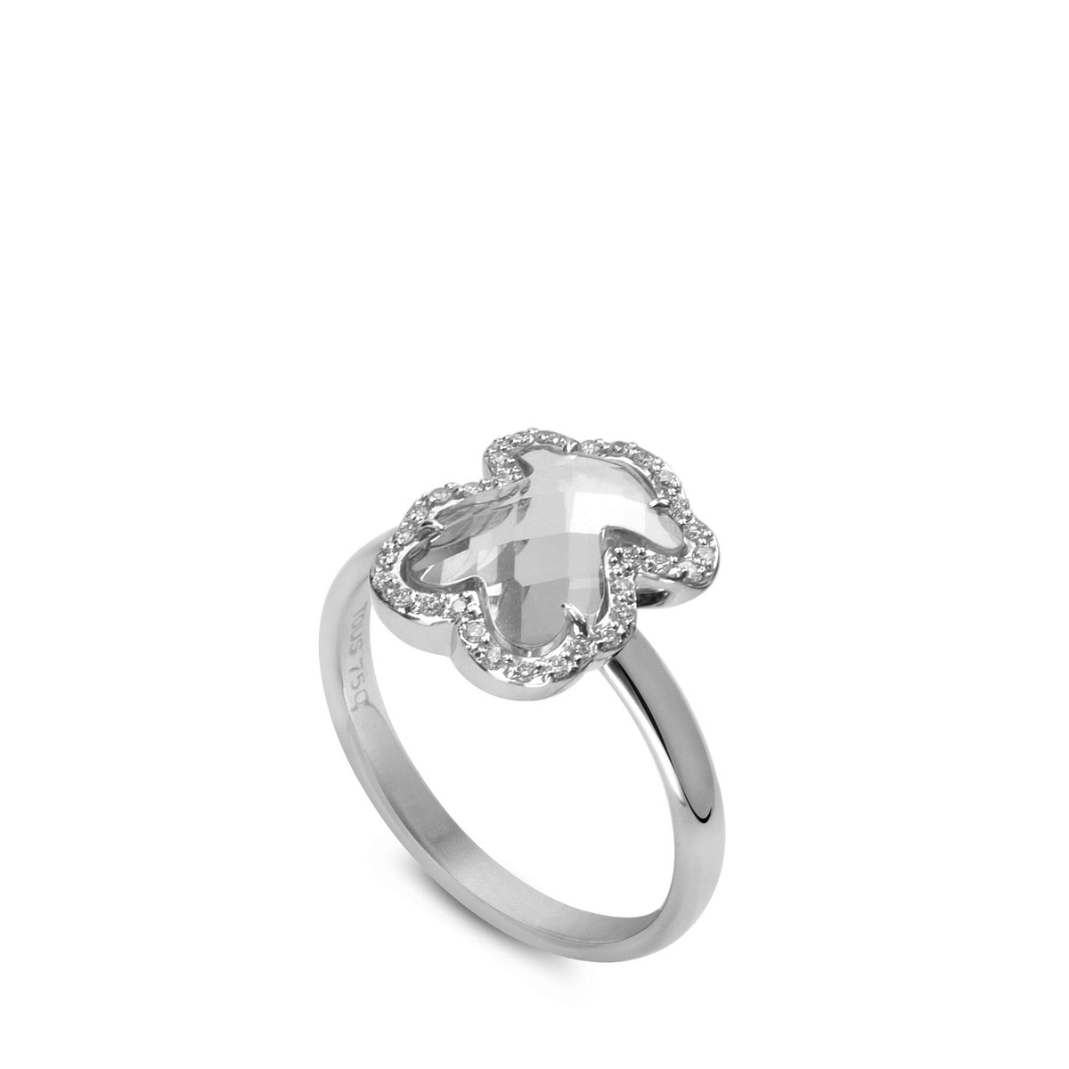 White Gold Ice Ring with Diamond and Quartz