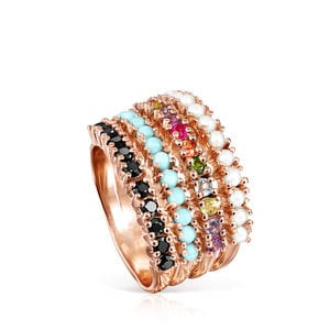 Rose Gold Vermeil Straight Ring with Gemstones