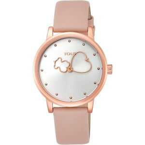 193f64015603 Rose IP steel Bear Time Watch with nude Leather strap