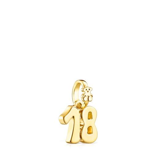 Colgante número 18 de plata vermeil Numbers