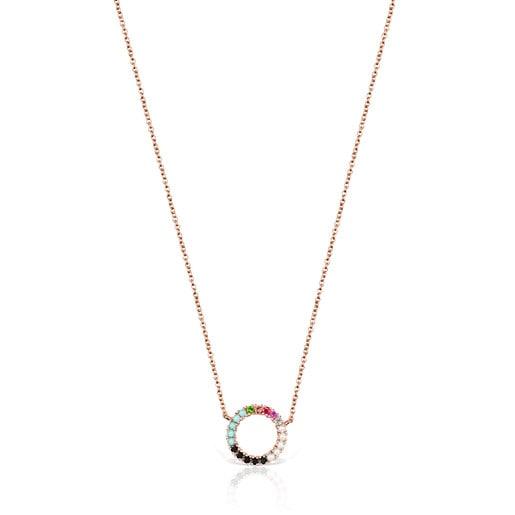 Colar Straight disco em Prata Vermeil rosa com Pedras Preciosas