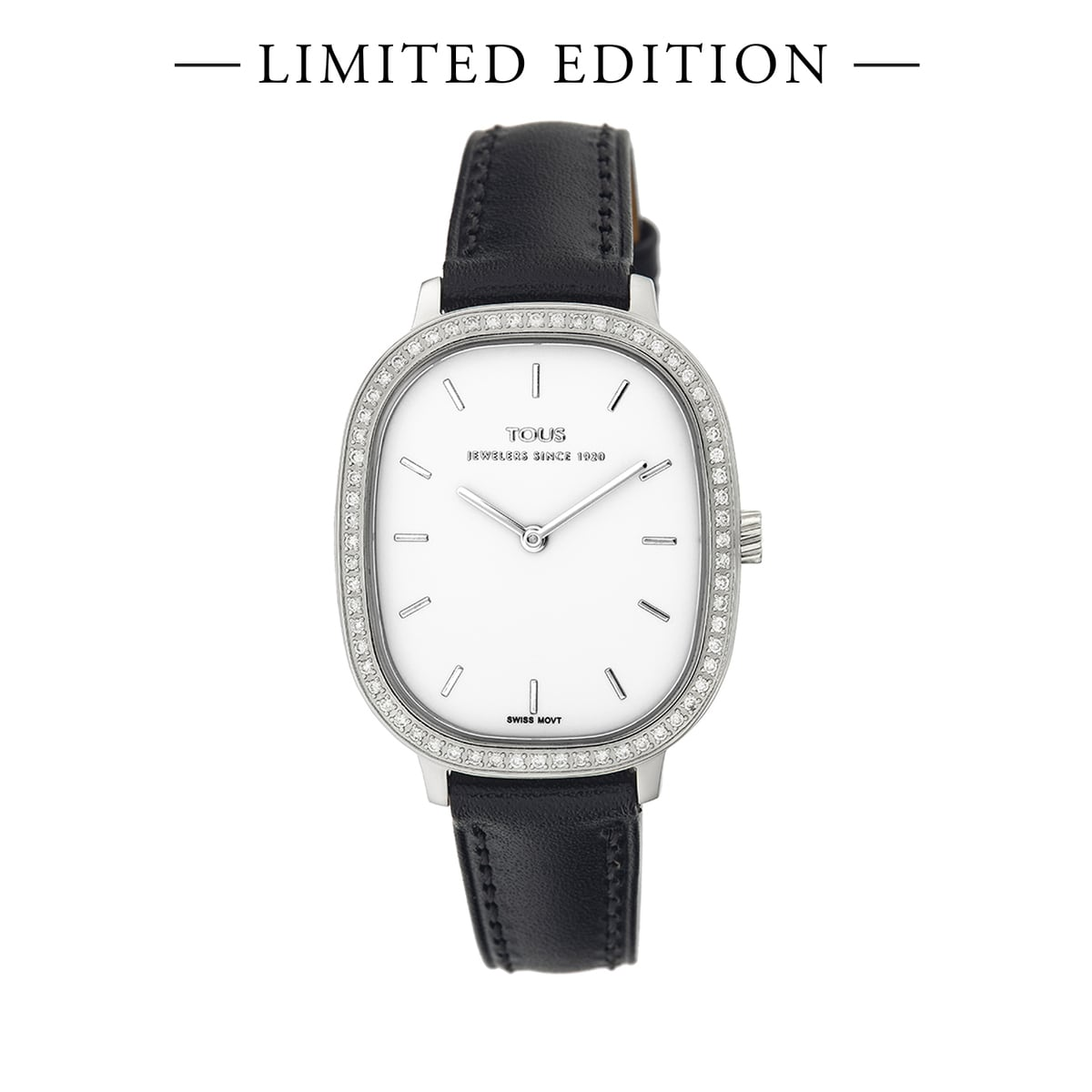 Heritage watch with diamond bezel and black leather strap - Special Edition