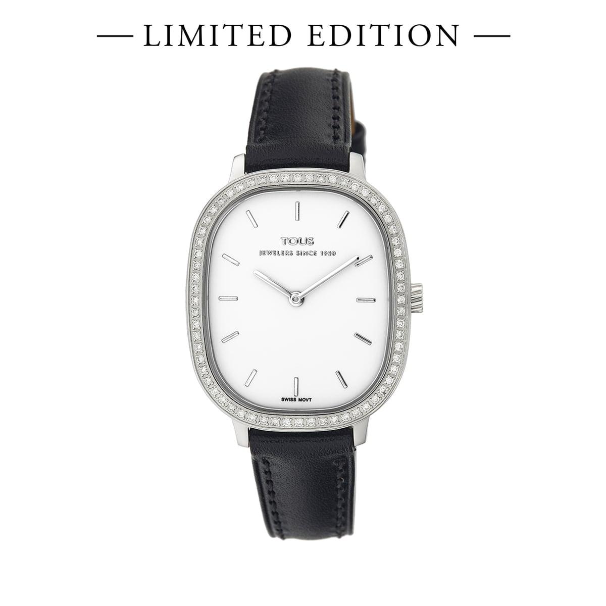 Reloj Heritage con bisel de diamantes y correa de piel negra - Edición especial