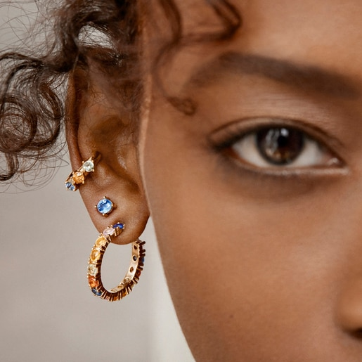 Silver Vermeil Glaring earcuff with multicolored Sapphires