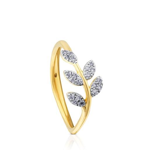 Gold Gem Power Ring with Diamonds Leaf motif