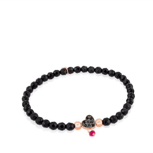 Rose Vermeil Silver TOUS Motif Bracelet with spinels and faceted onyx. Heart motif