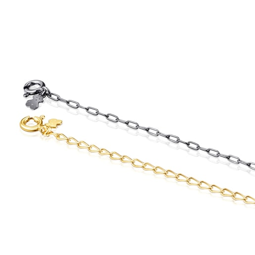 Silver Vermeil and Dark Silver TOUS Chain Bracelets Pack