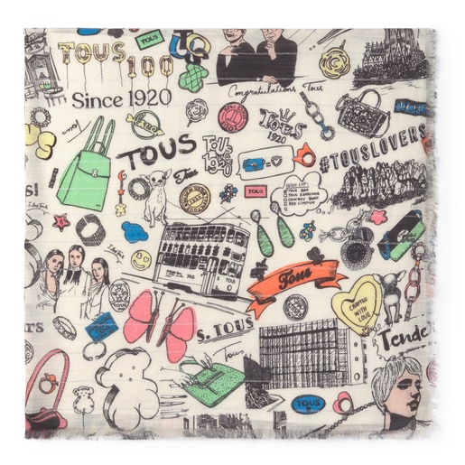 White and multi-color TOUS Centenary Foulard