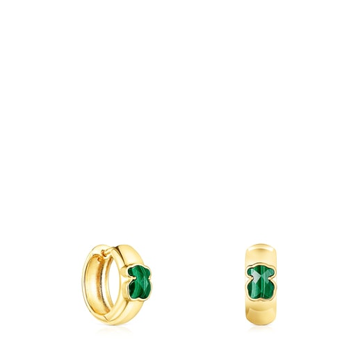 Small Silver Vermeil and Malachite Icon Color Earrings