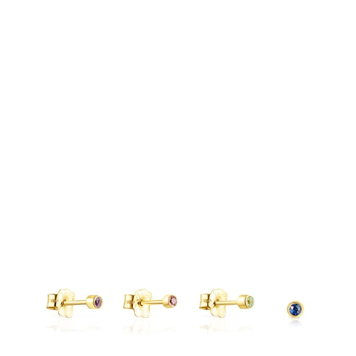 Set of Gold Straight Color Earrings with Gemstones