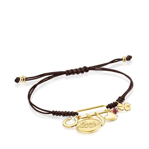 Silver Vermeil TOUS Good Vibes Mama Bracelet with Ruby and brown Cord