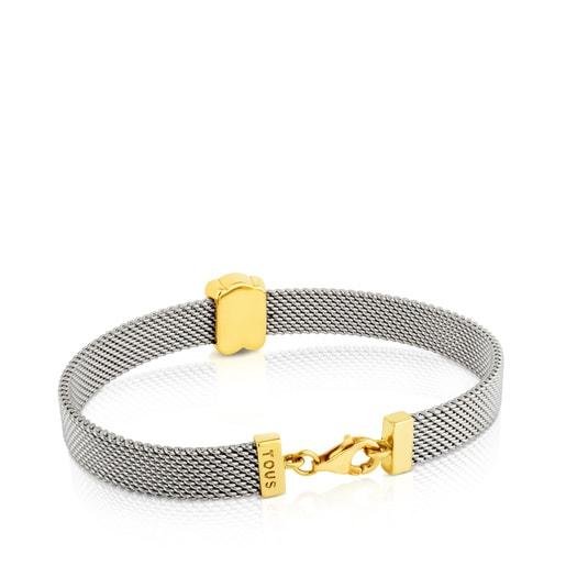Gold and Steel Mesh Bracelet Bear motif
