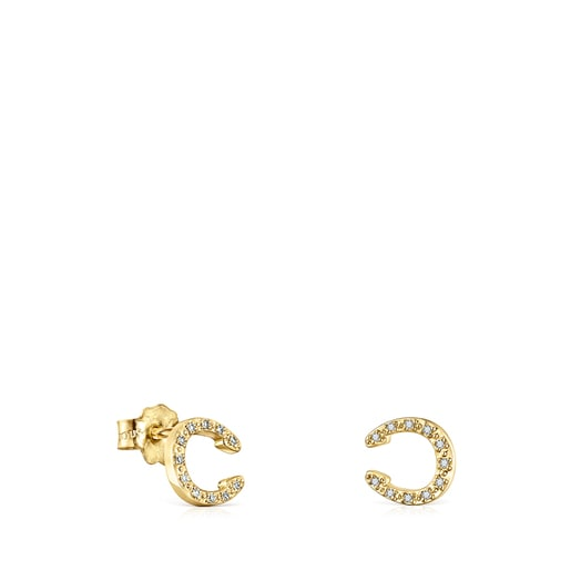 Gold TOUS Good Vibes horseshoe Earrings with Diamonds