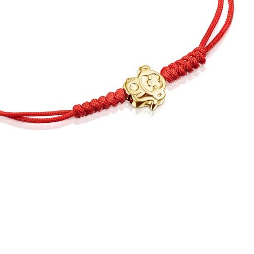 Armband Chinese Horoscope Monkey aus Gold mit roter Kordel