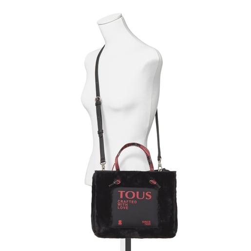 Mittelgroße Shopping-Tasche Amaya Fur in Schwarz
