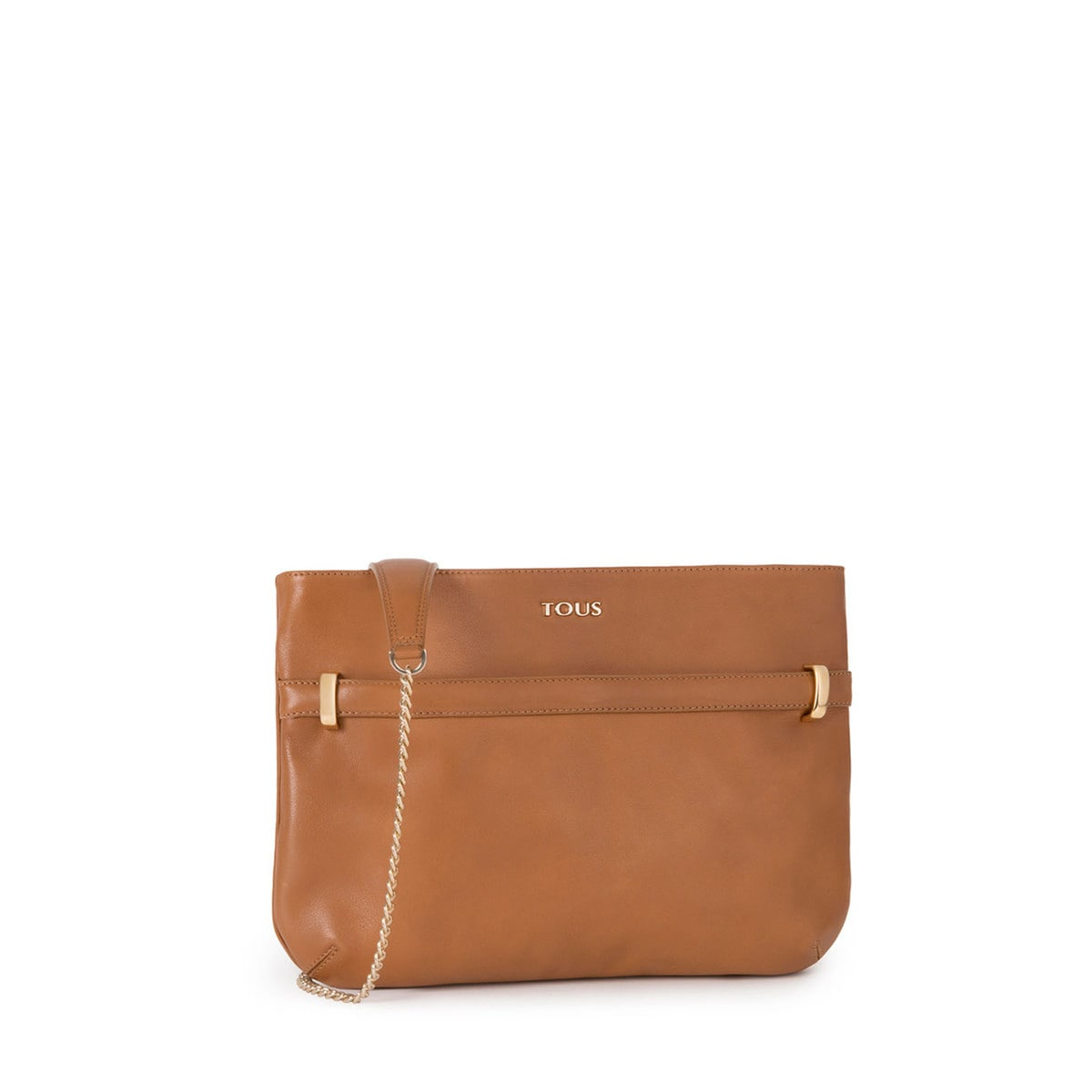 Clutch Briton de Piel en color camel