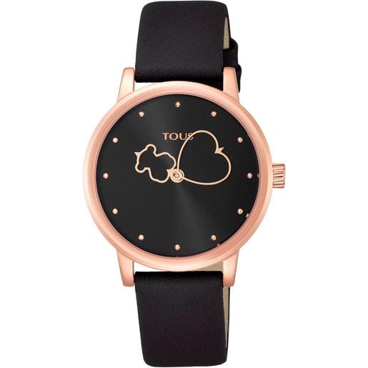 Rellotge Bear Time d'acer IP rosat amb corretja de pell negra