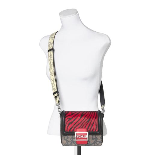 Μικρή Πολύχρωμη Κόκκινη - Μαύρη Τσάντα Ώμου Kaos Icon Wild