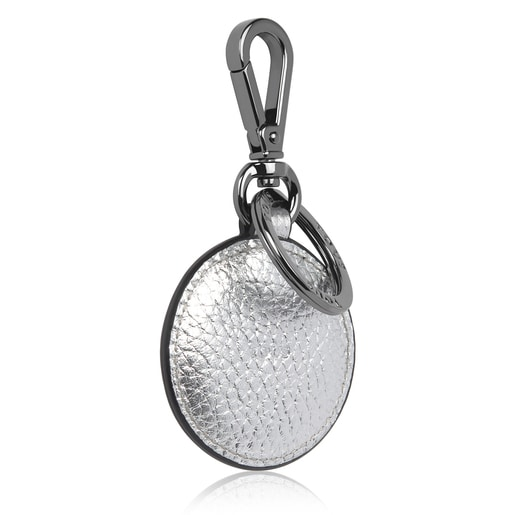 TOUS Silver Lovers Circle Key Ring, Leather