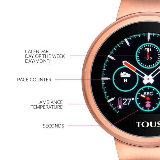 Reloj activity Rond Touch de acero IP rosado