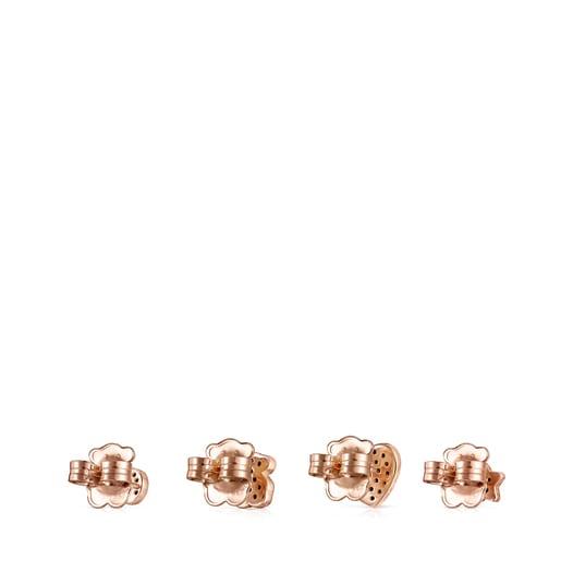 Σετ Σκουλαρίκια Motif από Ροζ Χρυσό Vermeil με Σπινέλια