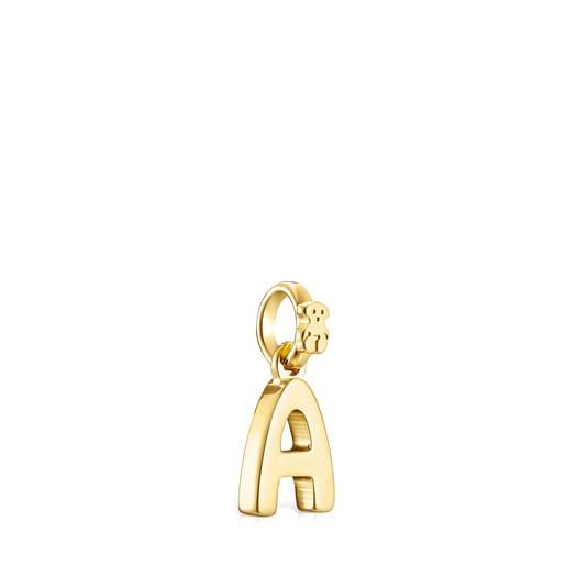 Pendentif Alphabet lettreA en Or Vermeil