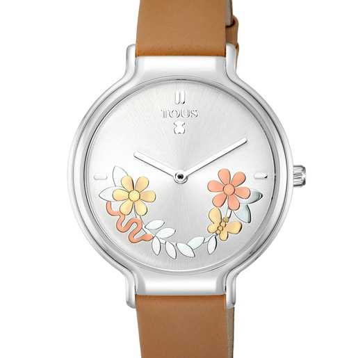 Steel Real Mix Watch with brown Leather strap