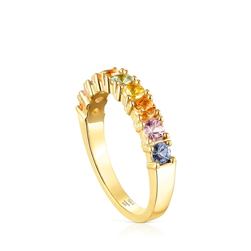 Silver Vermeil Glaring Wedding band with multicolored Sapphires