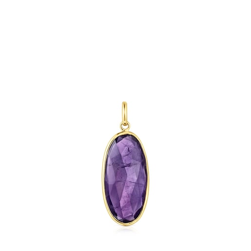 Gold Luz Pendant with Amethyst