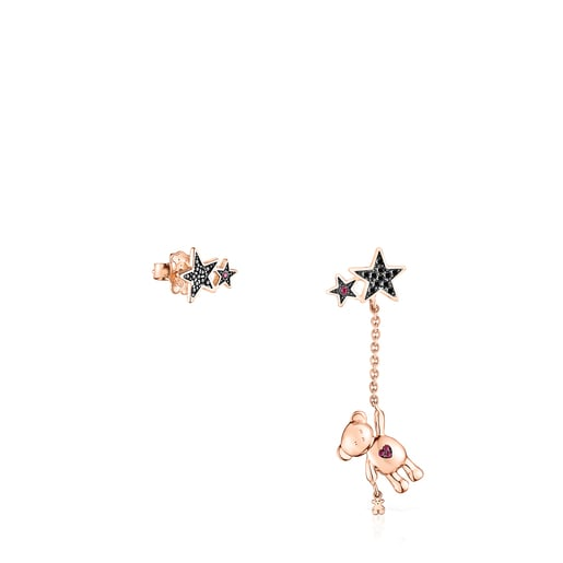 Short/long Rose Silver Vermeil Teddy Bear Stars Earrings with Spinel and Ruby