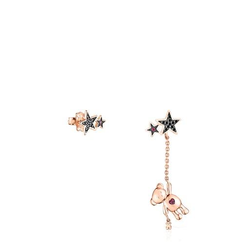Aretes corto/largo Teddy Bear Stars de plata vermeil rosa, espinela y rubí
