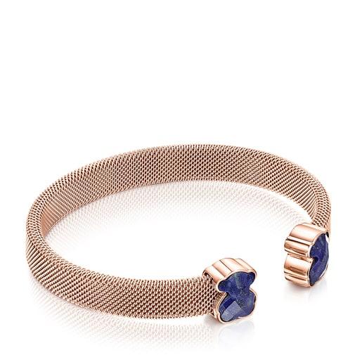 Rose IP Steel Mesh Color Bracelet with Lapis Lazuli