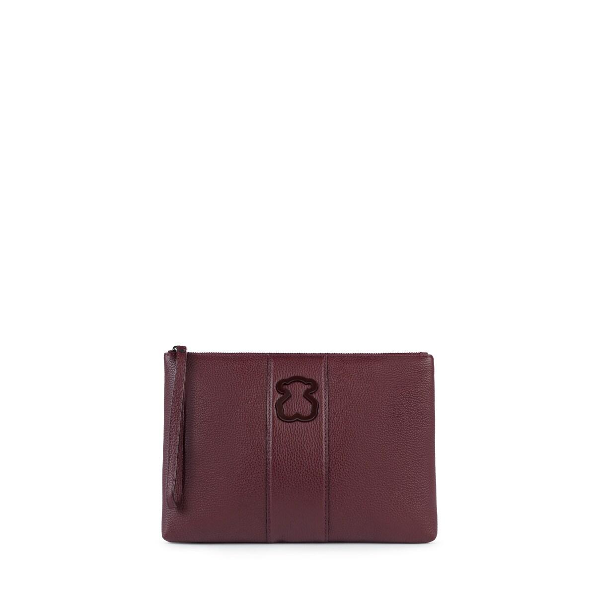 67a2cde73f Τσάντα φάκελος Alfa από Δέρμα σε μπορντό χρώμα - Tous Site Grecia