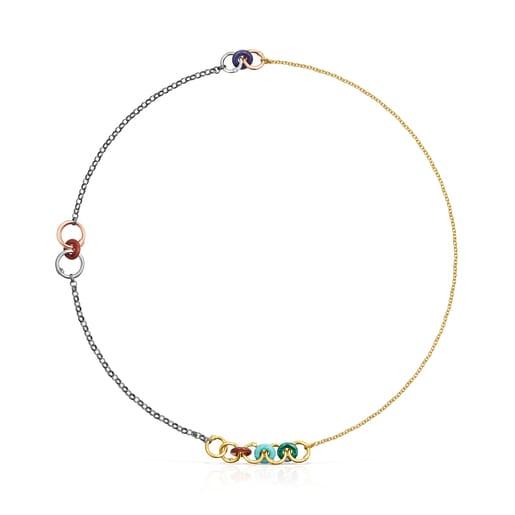 Collar Hold Gems de Plata Vermeil, Plata Dark Silver y Gemas