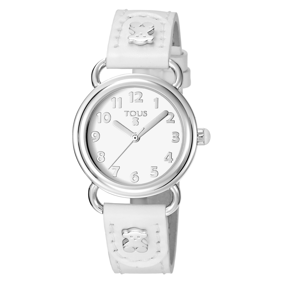 Steel Baby Bear Watch with white Leather strap