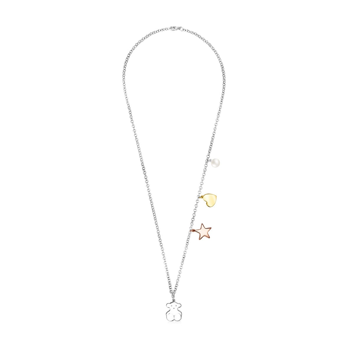 Silver Sweet Dolls Necklace with Gold Vermeil, rose Gold Vermeil and Pearl