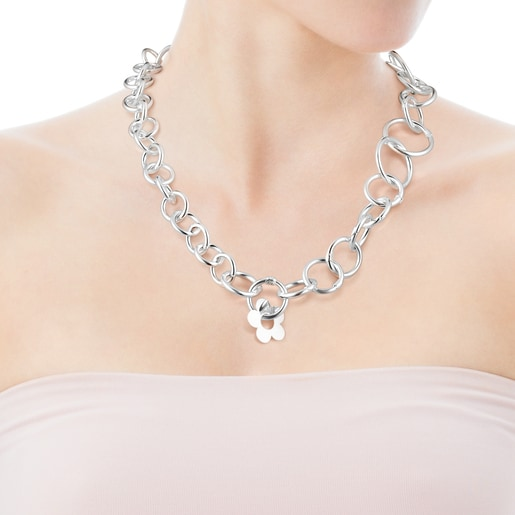 Collar Hold Metal flor de Plata