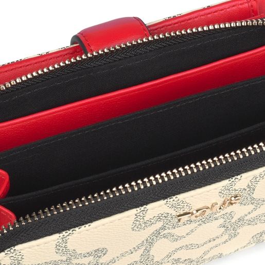 Mittelgroße mehrfarbige Geldbörse Kaos Icon in Beige und Rot