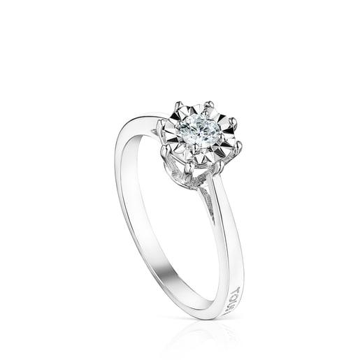 Anillo Les Classiques rosetón grande de Oro blanco y Diamantes 0.20ct