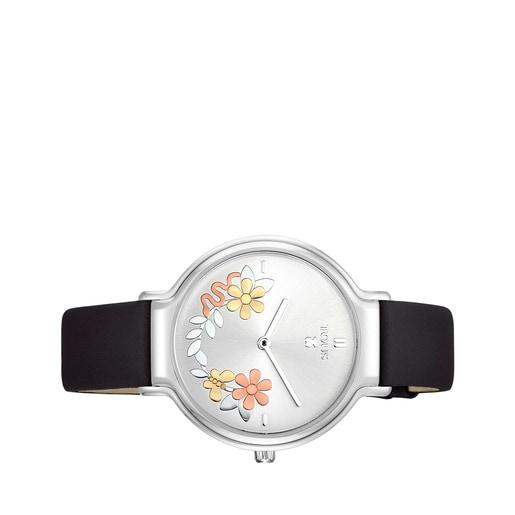 Reloj Real Mix de acero con correa de piel negra