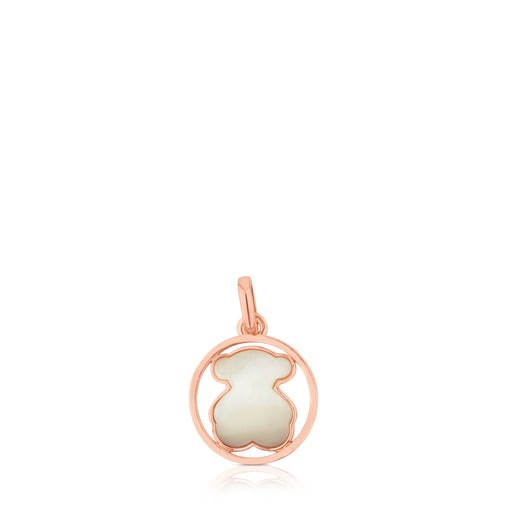 Rose Vermeil Silver TOUS Camille Pendant with Mother-of-Pearl Bear motif