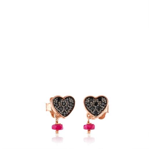 Pendientes TOUS Motif de Plata Vermeil, espinelas y rubí con motivo Corazón