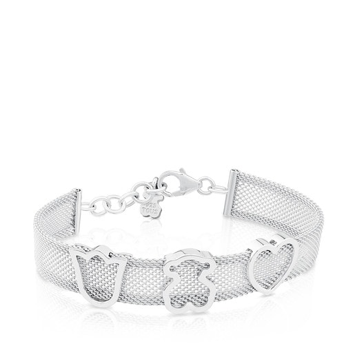 Silver TOUS Mesh Bracelet with Bear, Heart and Tulip motifs