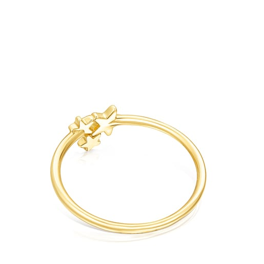 Gold Teddy Bear Stars Ring with Diamonds